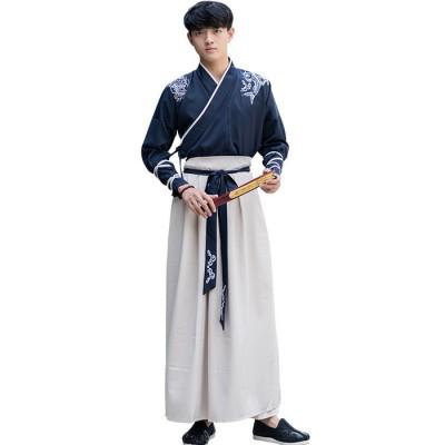 4519改良汉服男装中国风古装武侠复古学生日常表演服套装班服