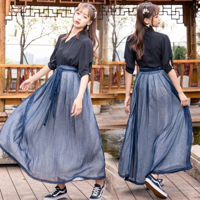 2055改良雪纺皱短袖衬衣 双层半裙武侠风汉元素时装两穿汉服女
