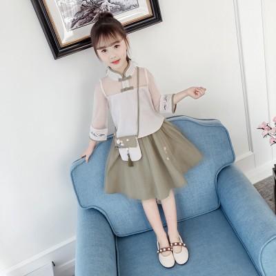 童装女童春夏新品套装2019中国风汉服儿童网纱裙子旗袍两件套复古